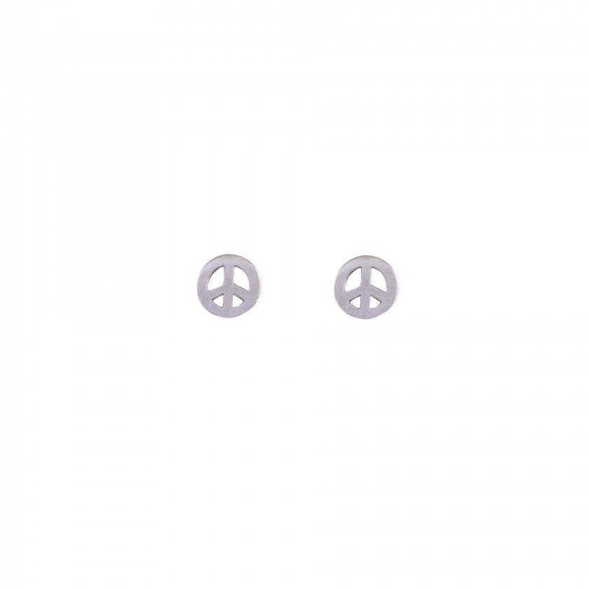 Silver peace symbol brass earrings