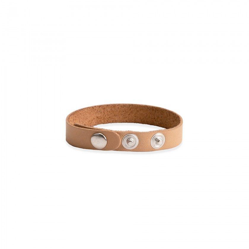 Beige leather bracelet