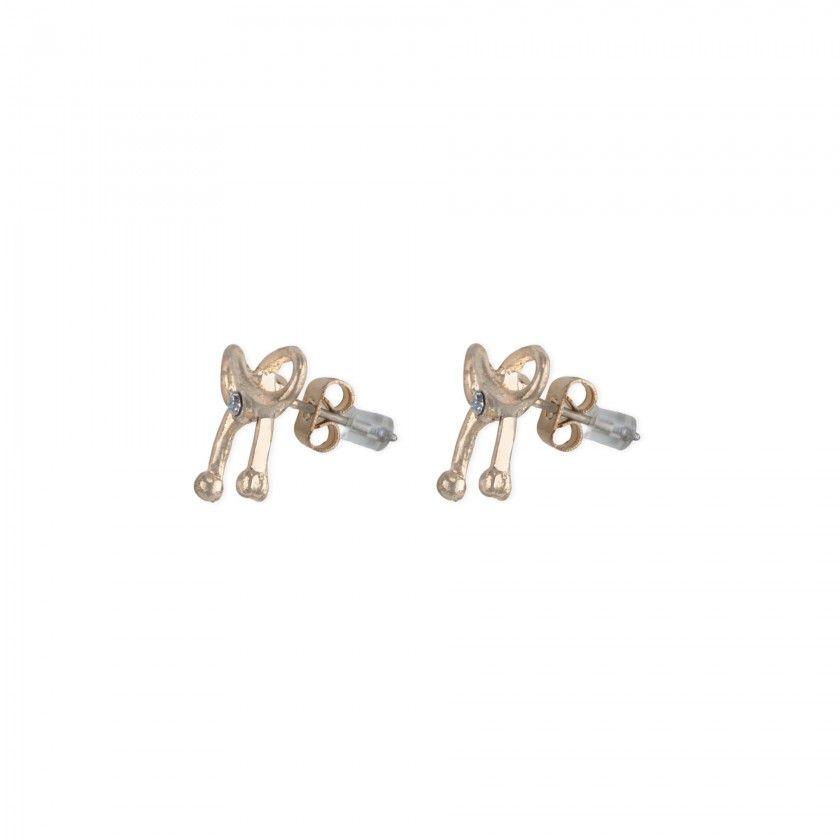 Golden bow brass earrings