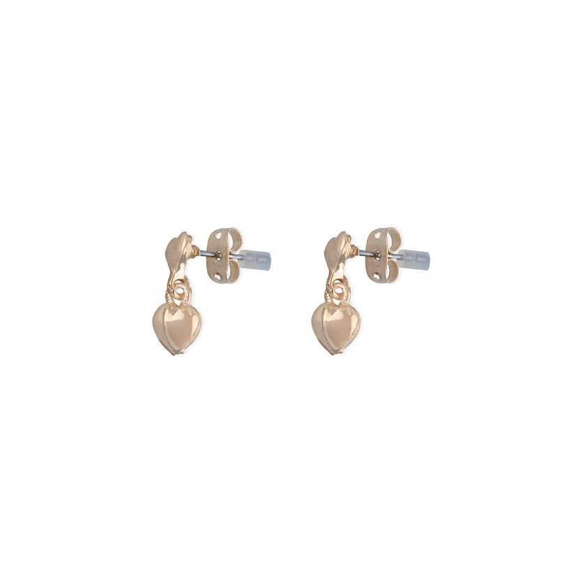 Golden heart brass earrings