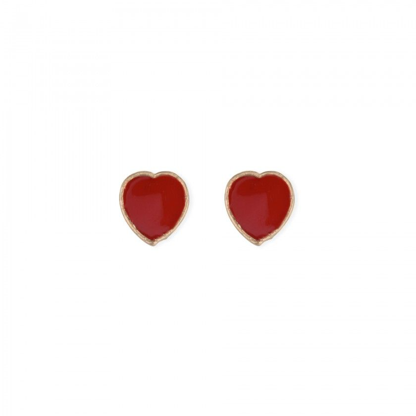 Brincos coração vermelho