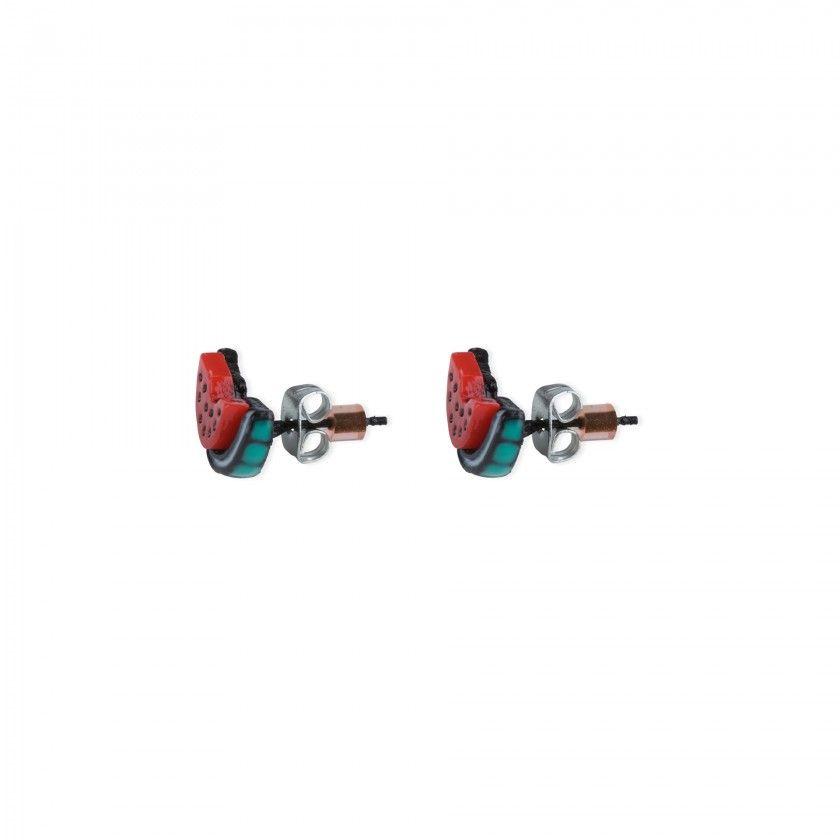 Watermelon brass earrings