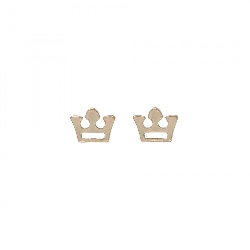 Brass crown earrings