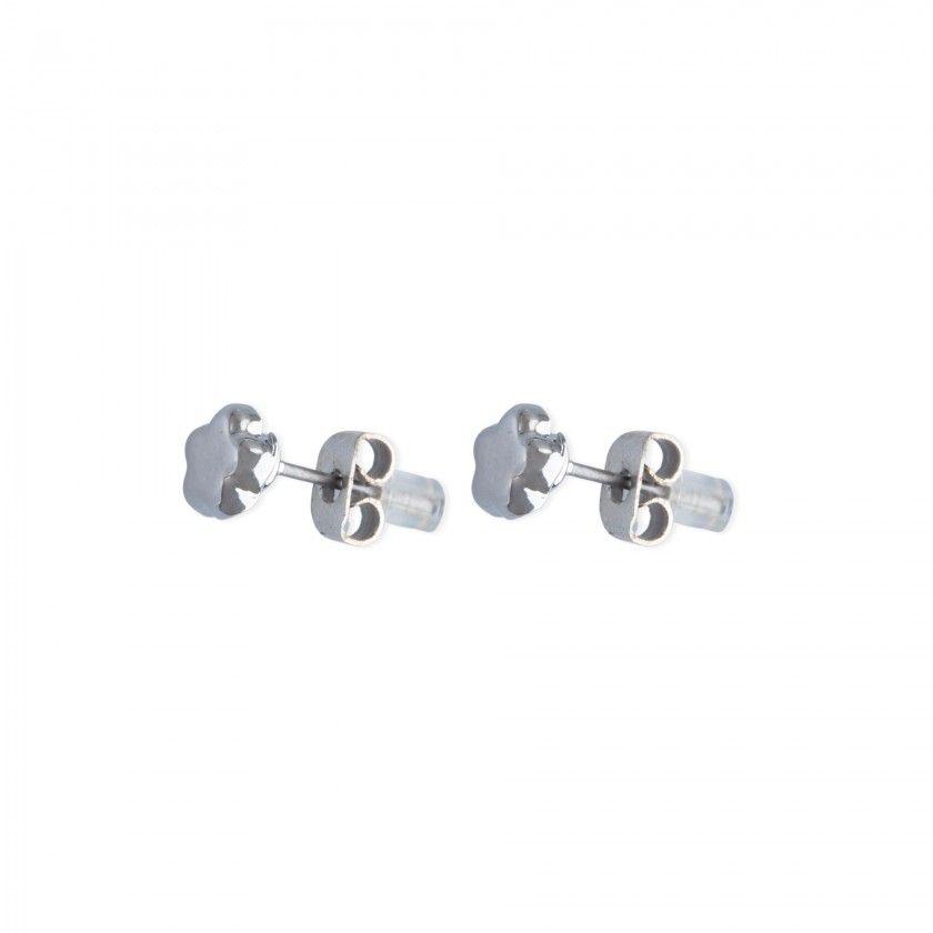 Silver flower brass earrings