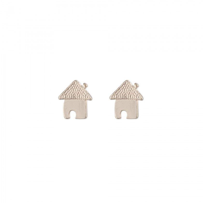 Golden house brass earrings