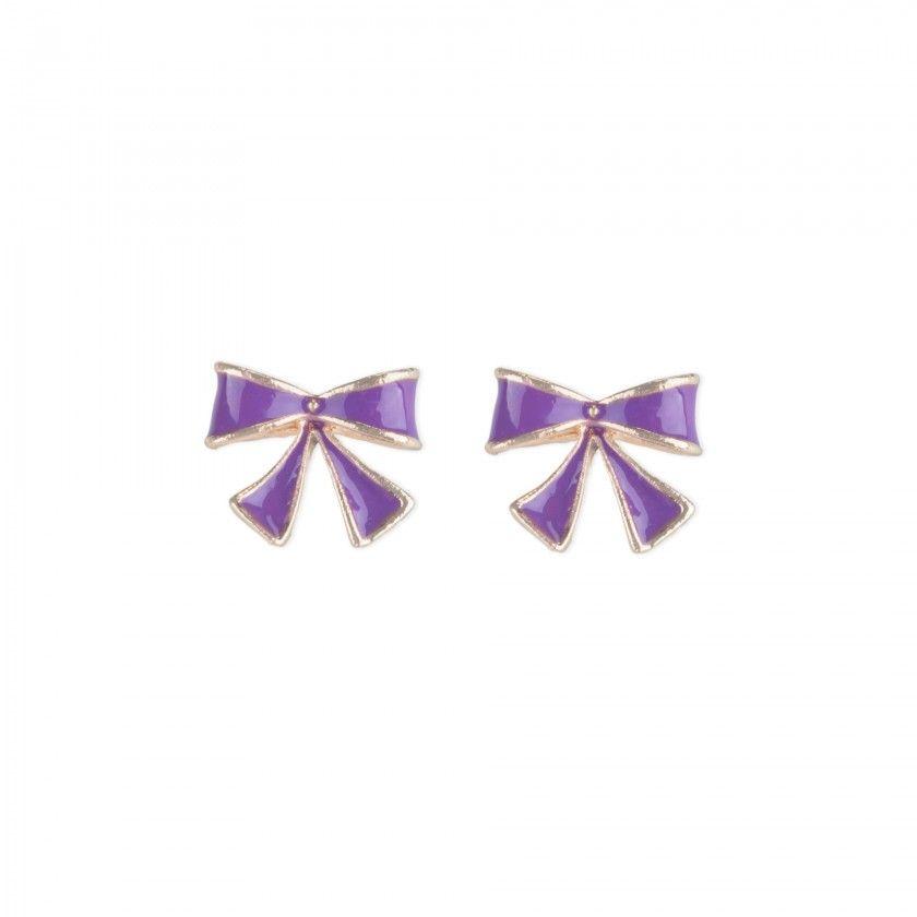 Purple bow brass earrings