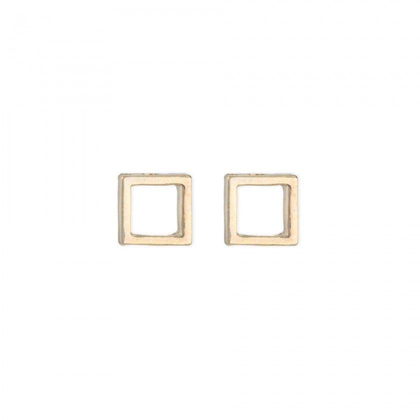 Golden square brass earrings