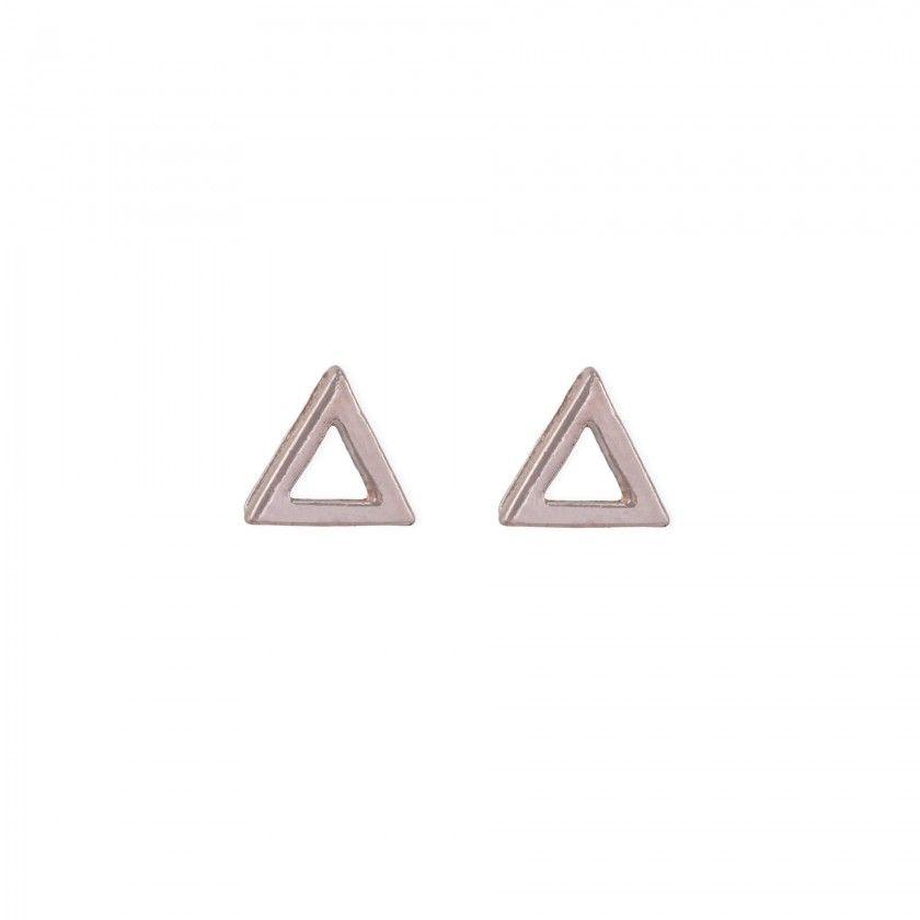 Brincos triângulo rosa dourado