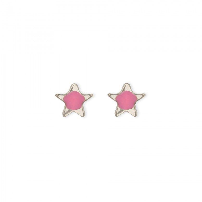 Brincos estrela rosa