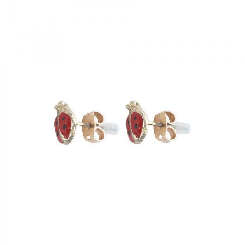 Brincos joaninha vermelha