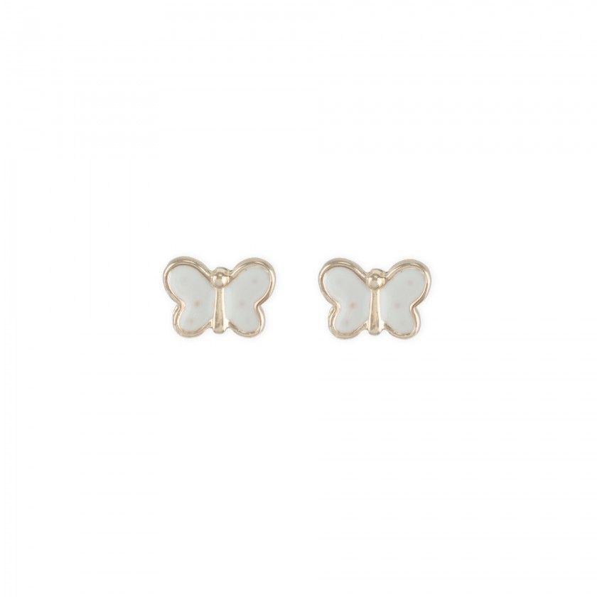 Brincos borboleta branca