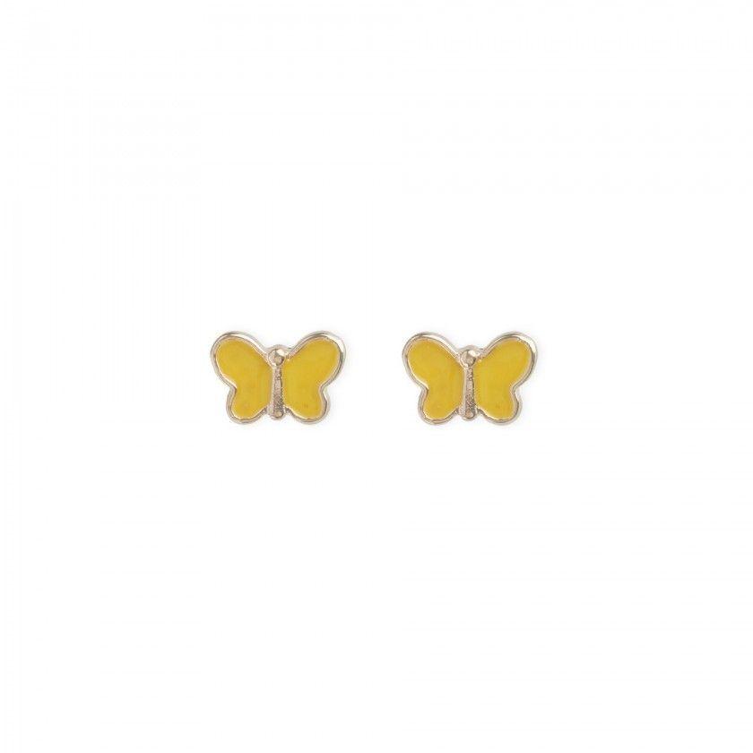 Yellow butterfly brass earrings