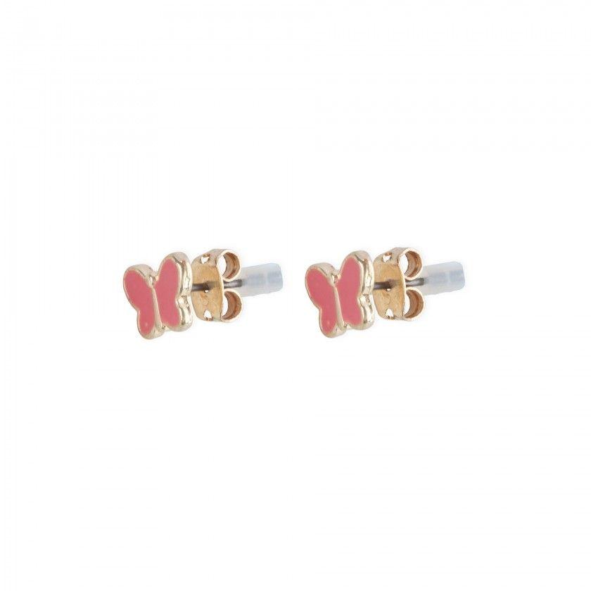Pink butterfly brass earrings
