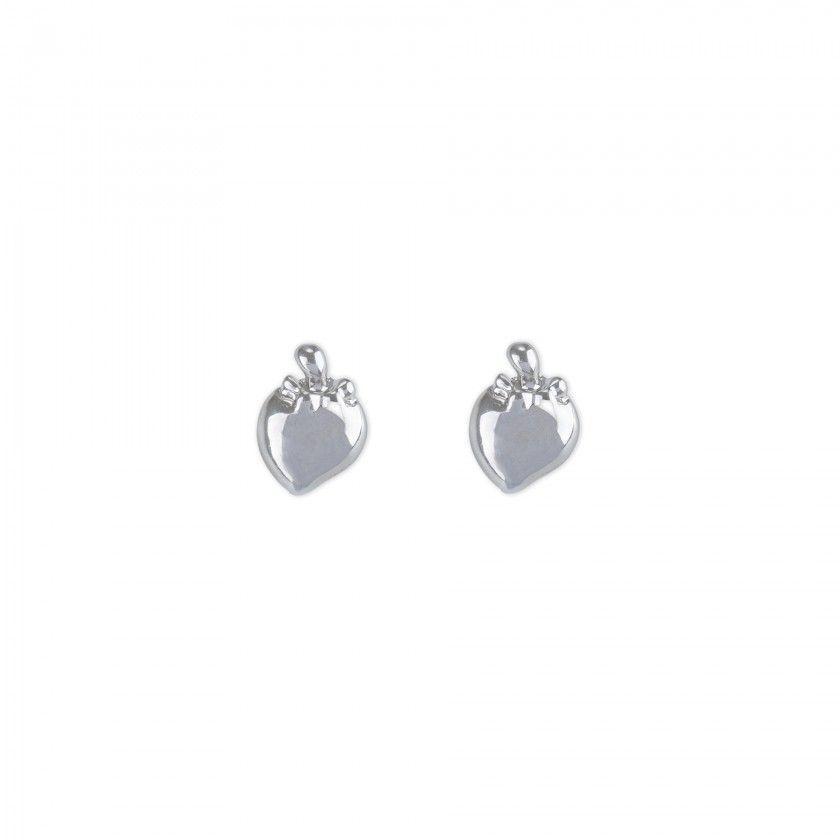 Silver strawberries brass earrings