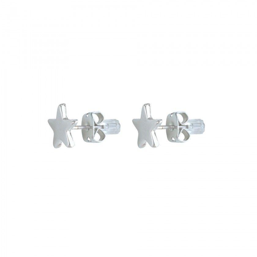 Silver star brass earrings