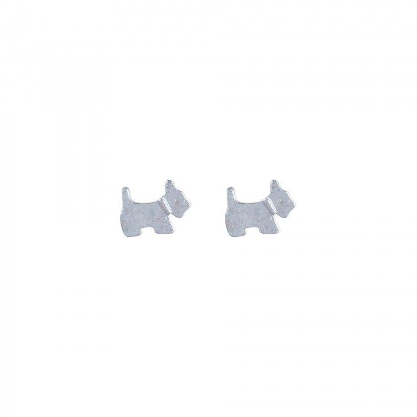 Brincos cão prateado
