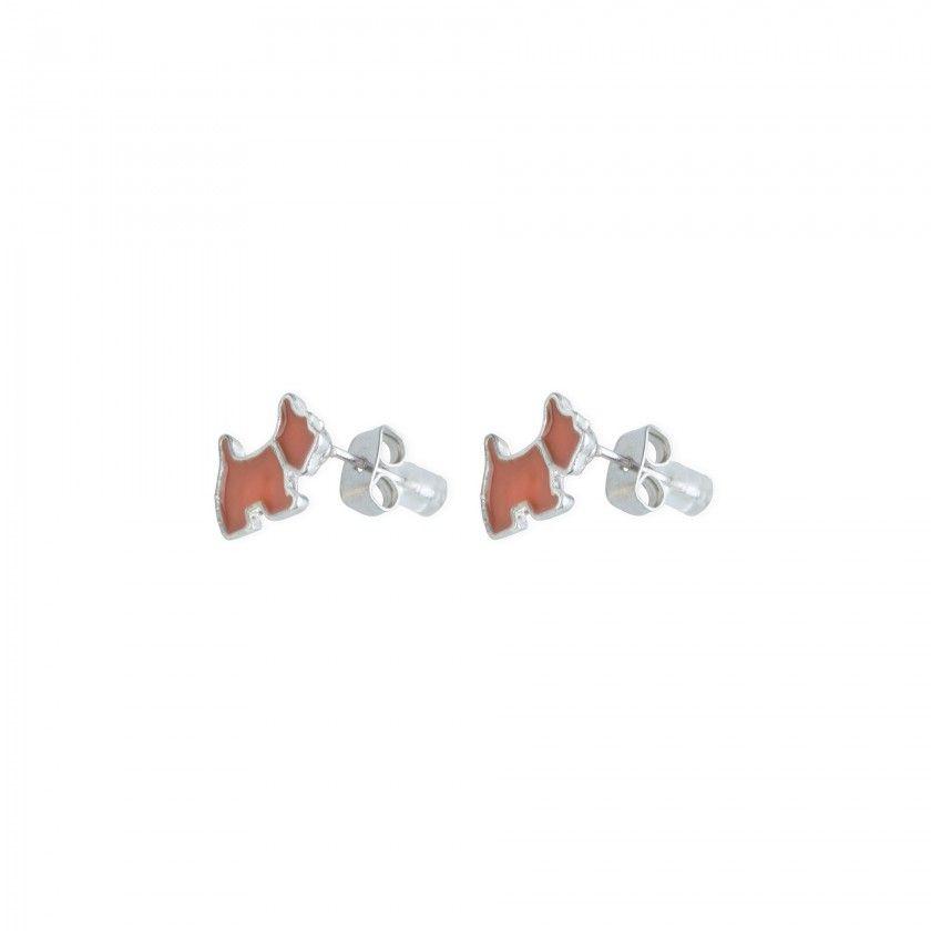 Orange dog brass earrings