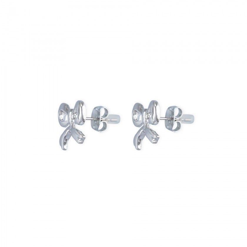 Silver bow brass earrings