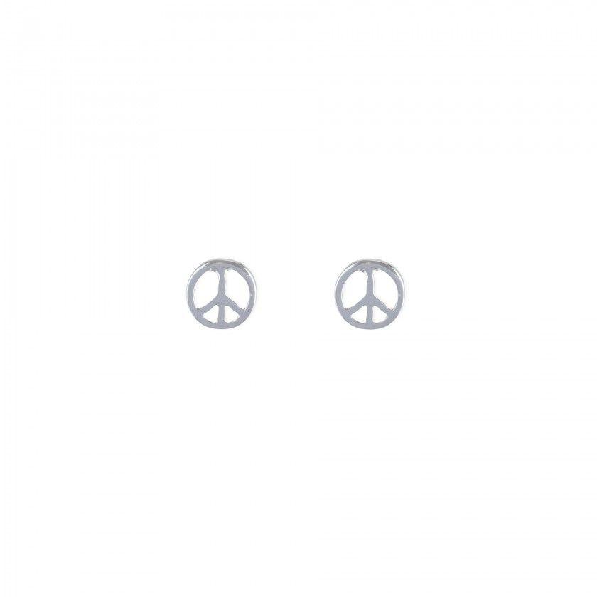 Brincos símbolo da paz prateado