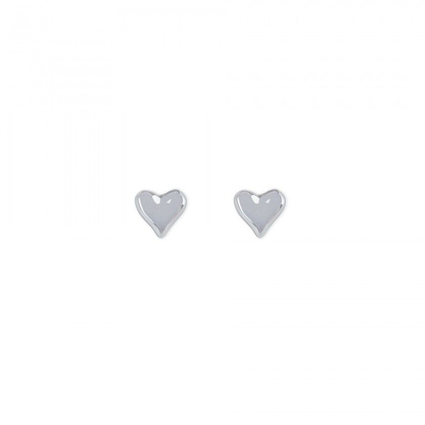 Brincos coração prateado