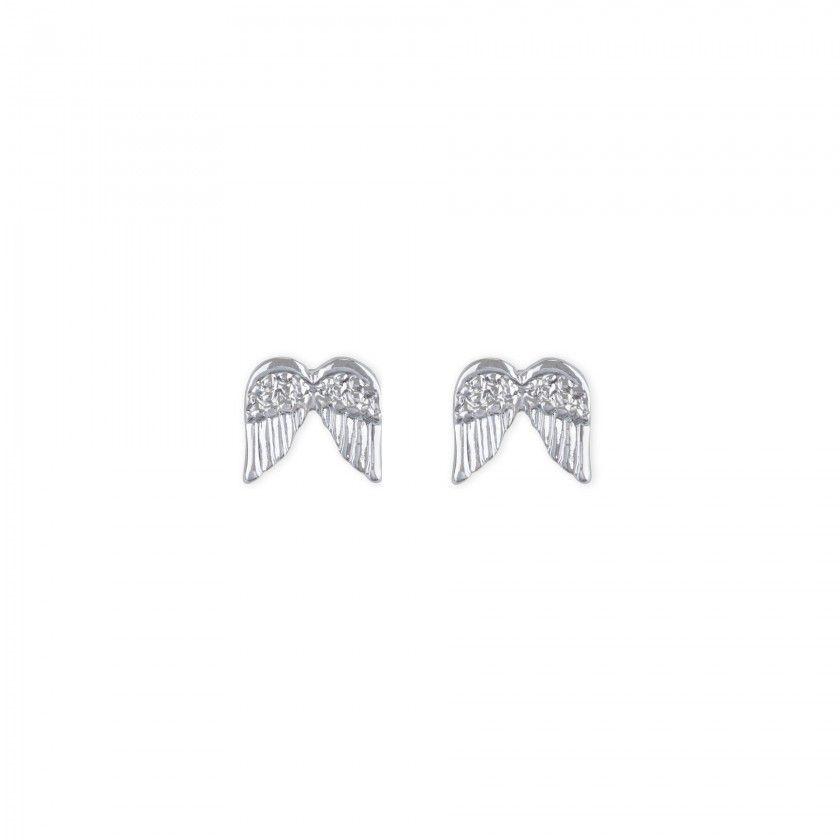Brincos asas prateadas