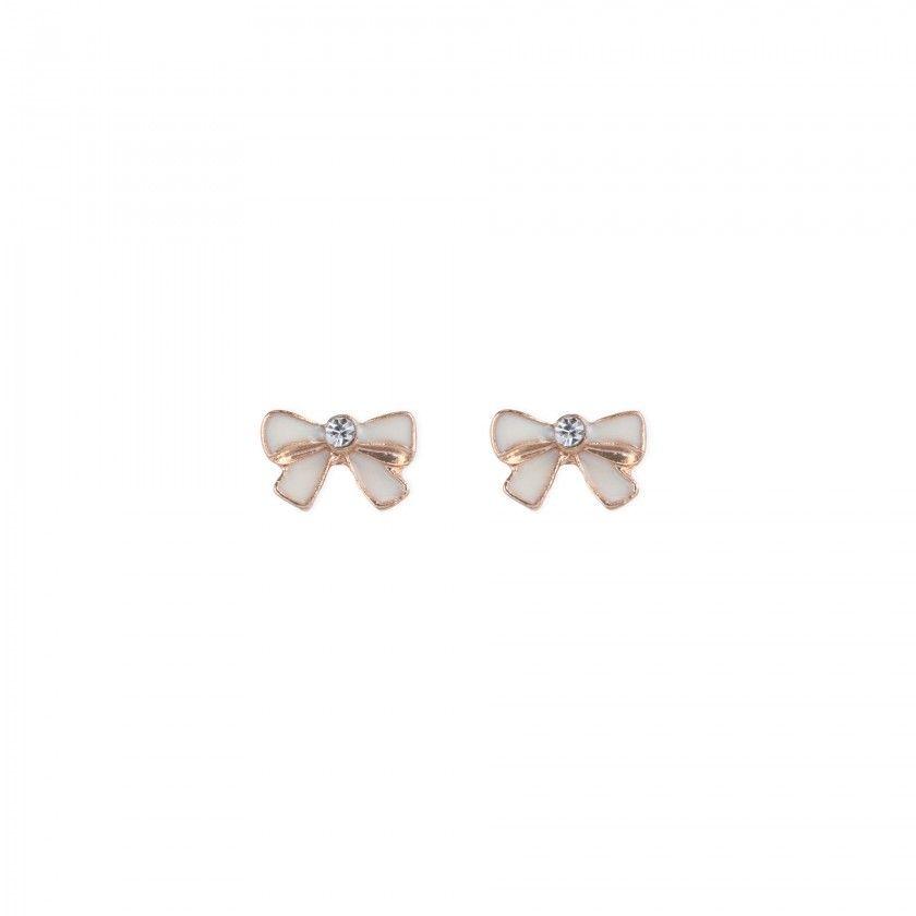 beige bow brass earrings