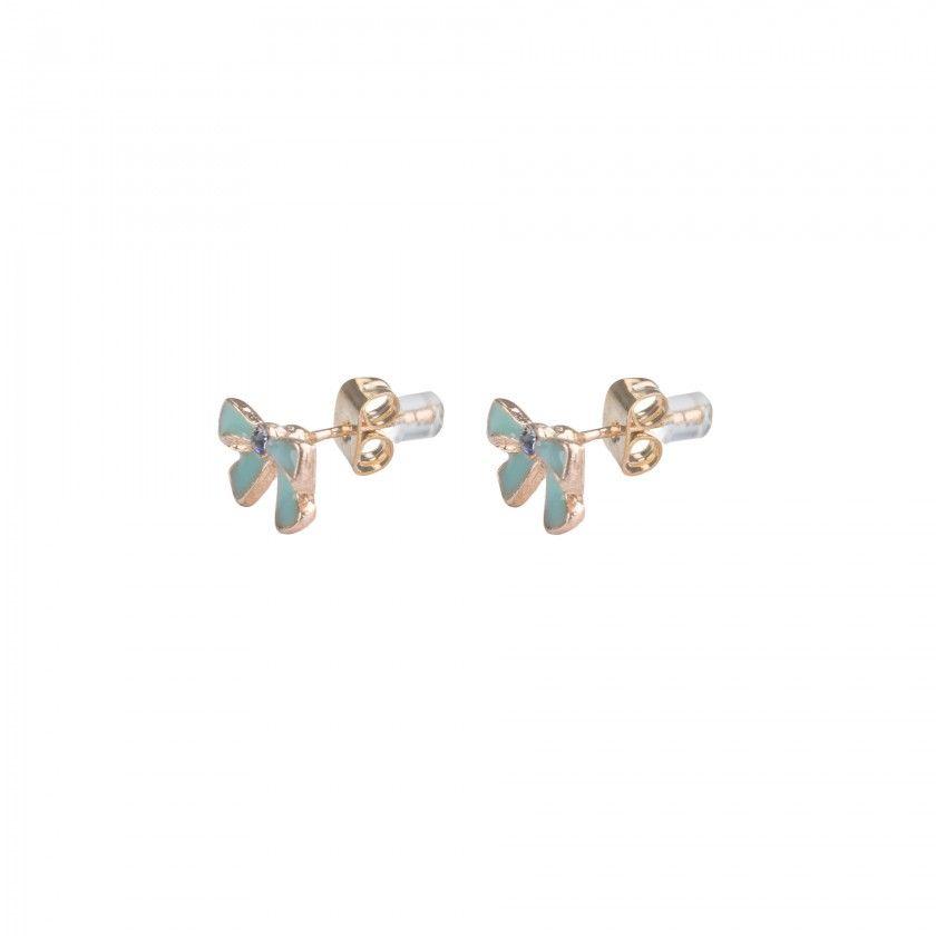 Green bow brass earrings