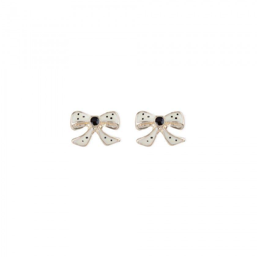 Golden bows brass earrings