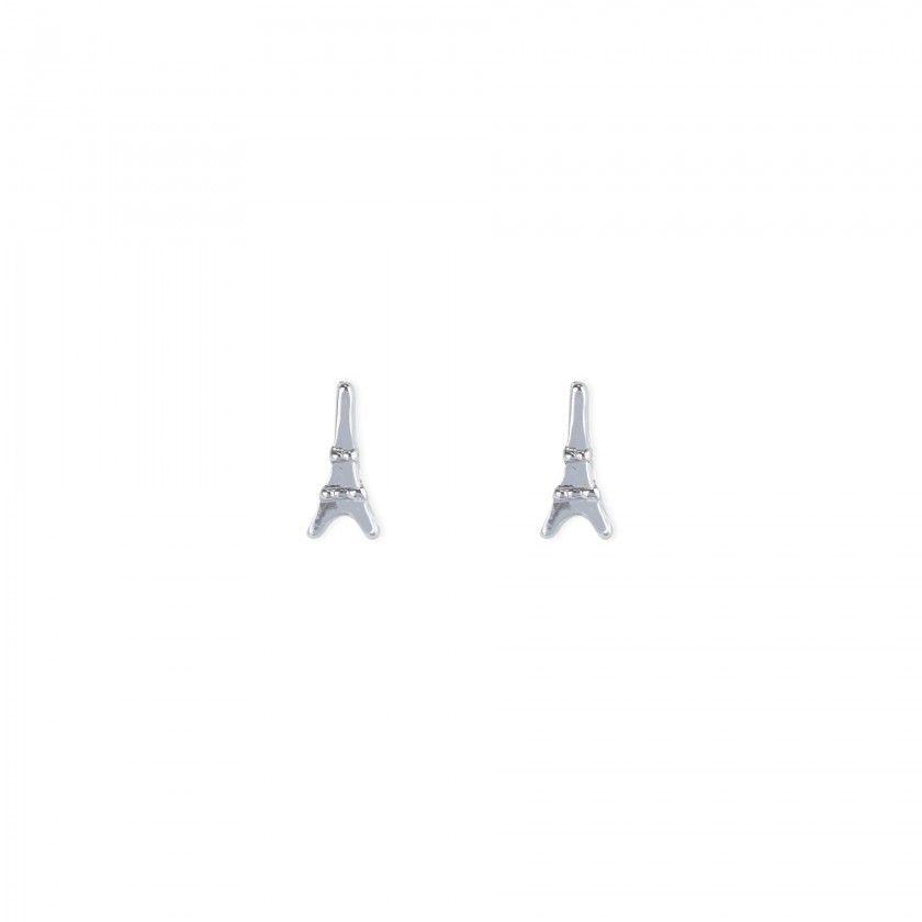 Silver Eiffel tower brass earrings