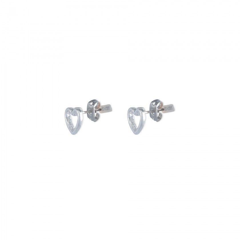 Silver heart brass earrings