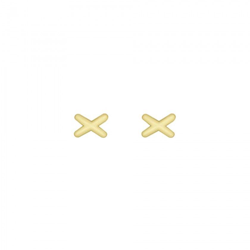 Silver cross golden earrings