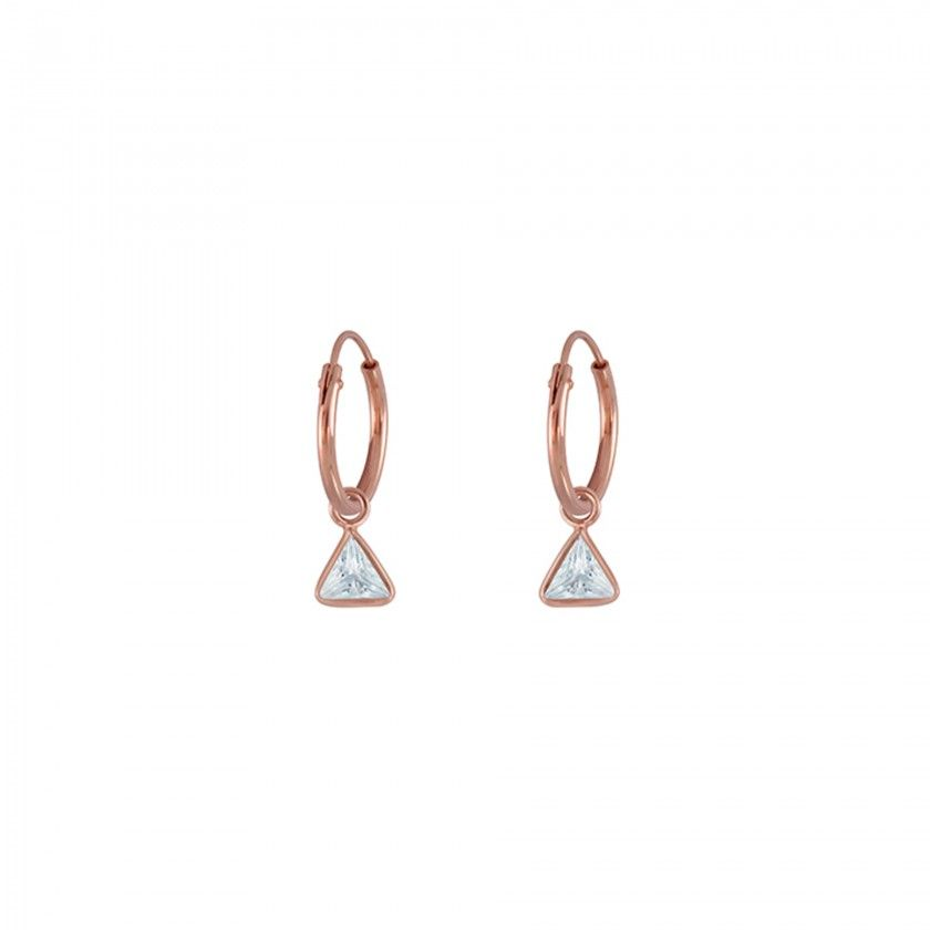 Silver rings rose gold triangles