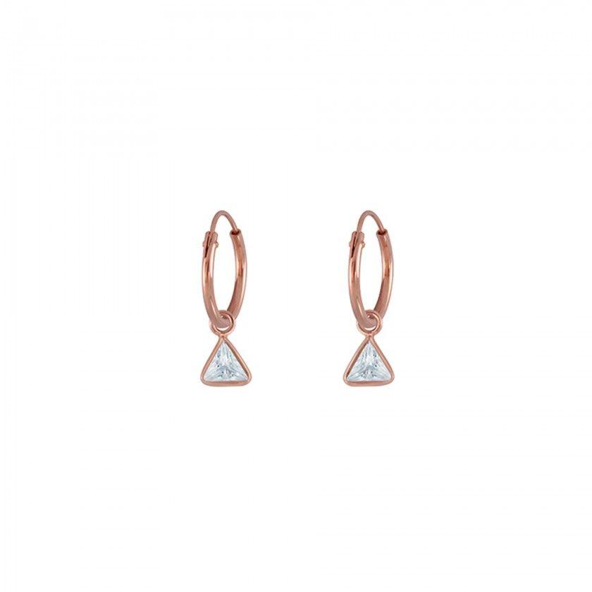 Argolas prata triângulos rosa dourado