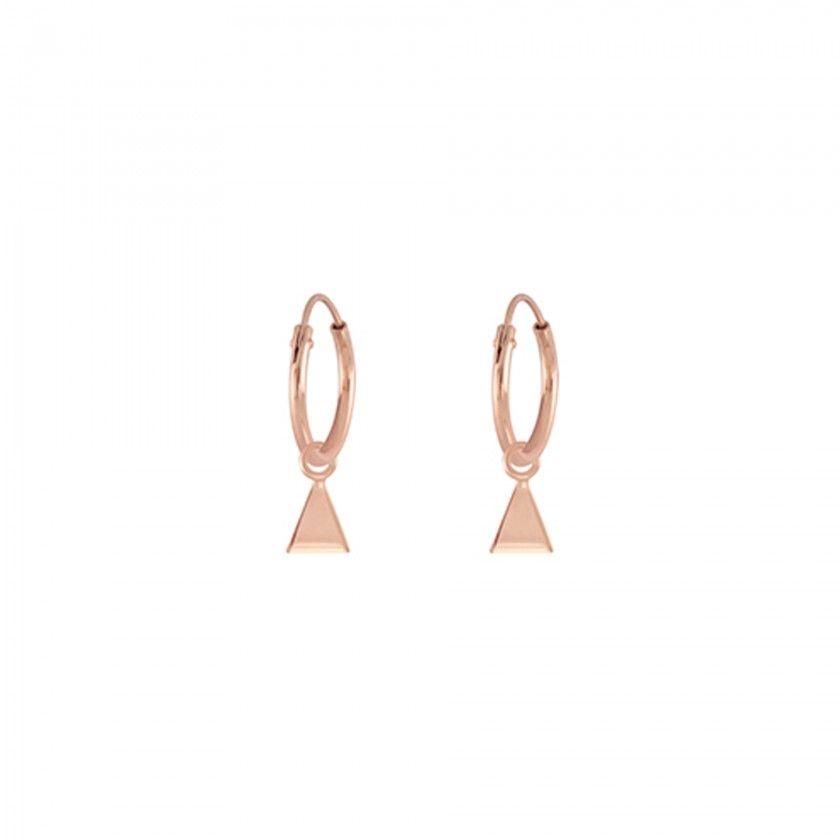 Argolas prata triângulos rosa gold
