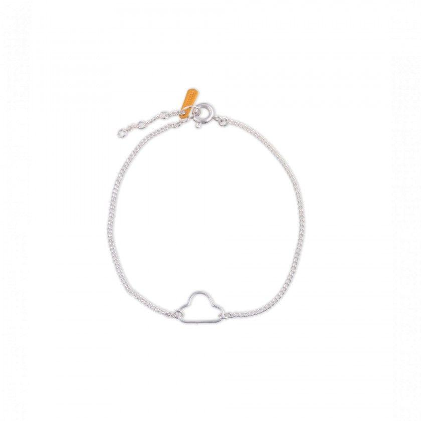 Cloud silver brass bracelet