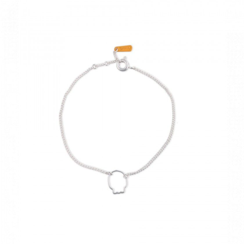 Skull silver brass bracelet