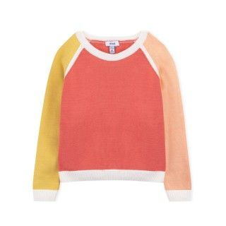 Sweater girl knitted Color Block