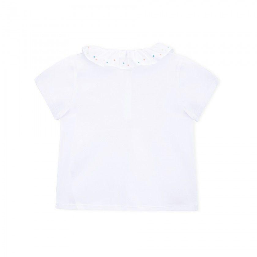 Pólo menina algodão orgânico Dots