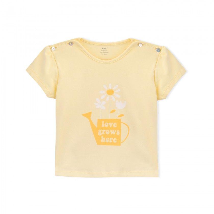 T-shirt manga curta bebé algodão orgânico Regador