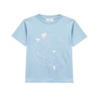 Boy short sleeve t-shirt organic cotton Olá mundo