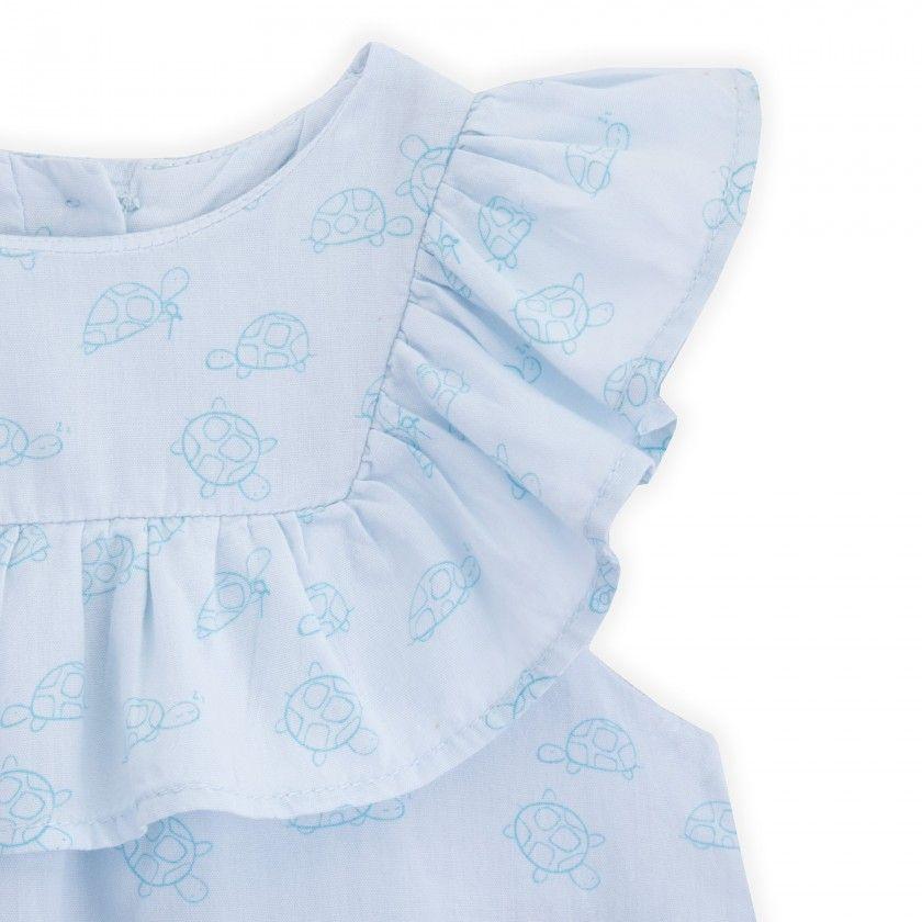 Vestido bebé algodão orgânico Turtles