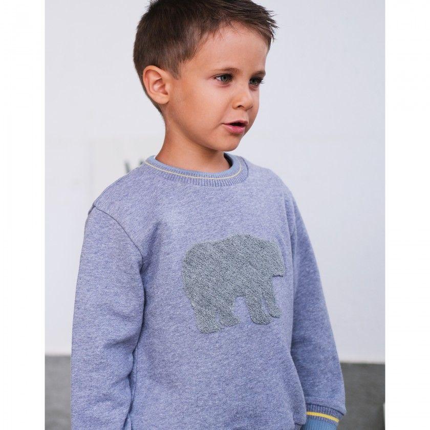 Sweatshirt menino algodão orgânico Urso Polar