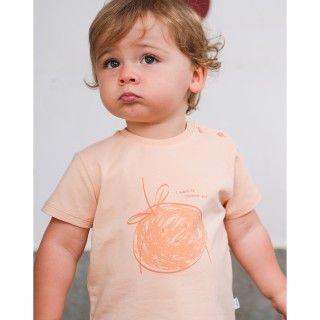 T-shirt manga curta bebé algodão orgânico Orange squeeze
