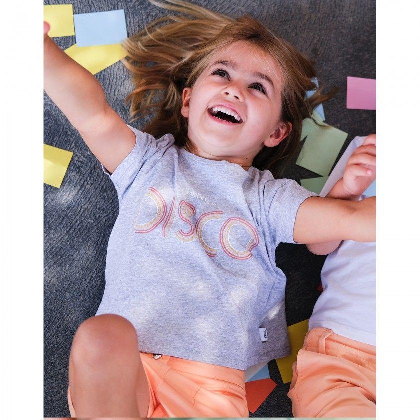 T-shirt manga curta menina algodão orgânico Disco