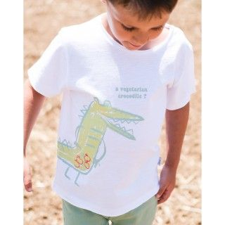 Boy short sleeve t-shirt organic cotton Crocodilo vegetariano