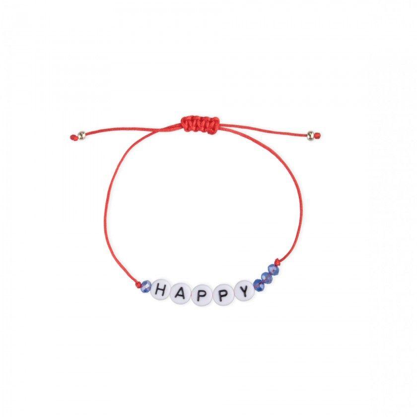 Waxed cord bracelet Happy beads