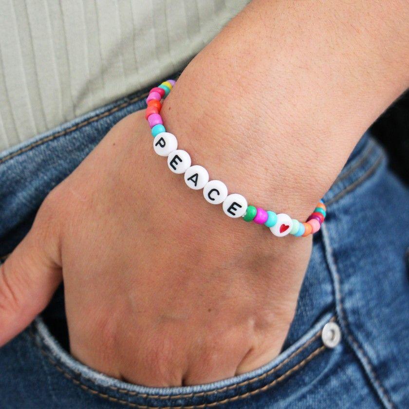 Elastic PEACE seed beads bracelet