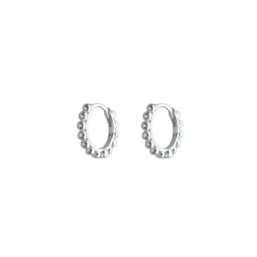 Silver polka dot rings