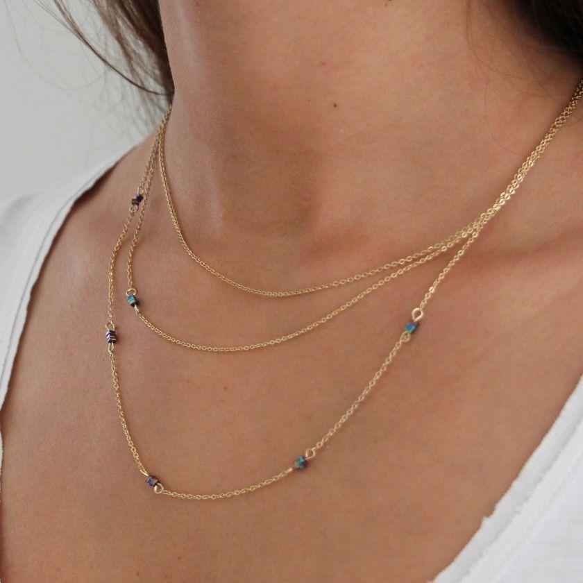 Beaded steel triple necklace