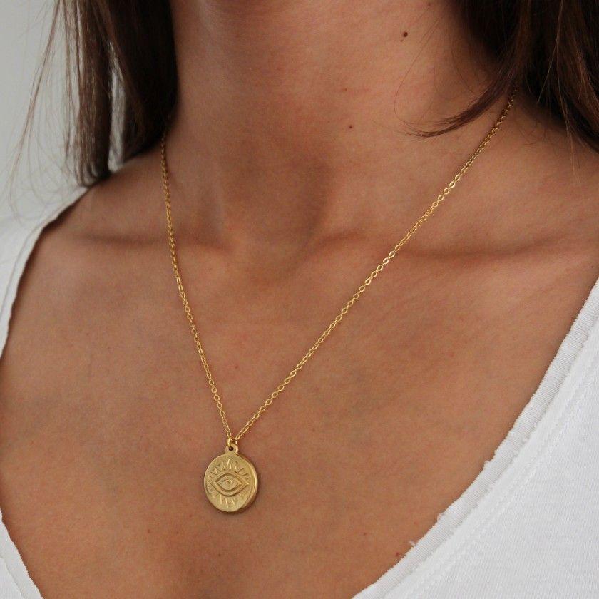 Steel necklace medal Turkish eye